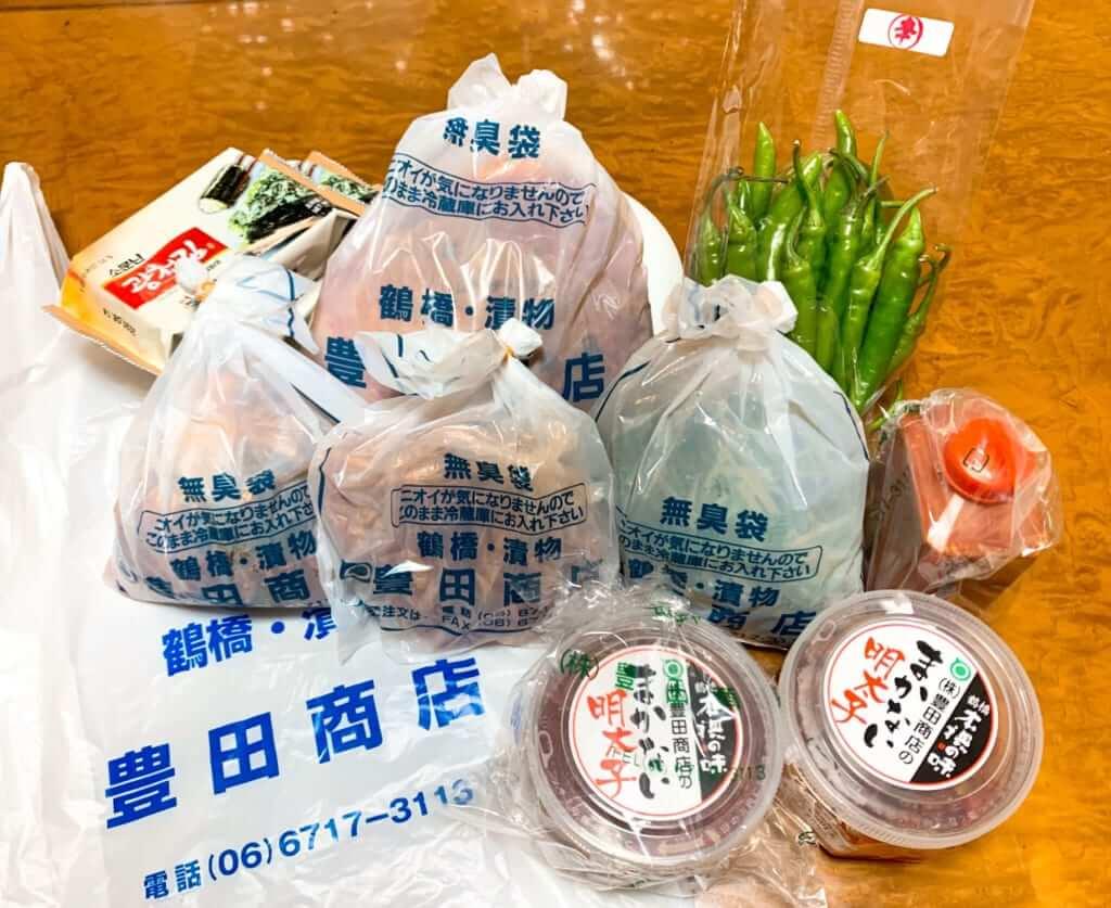 鶴橋豊田商店のキムチ通販で頼んだ品物